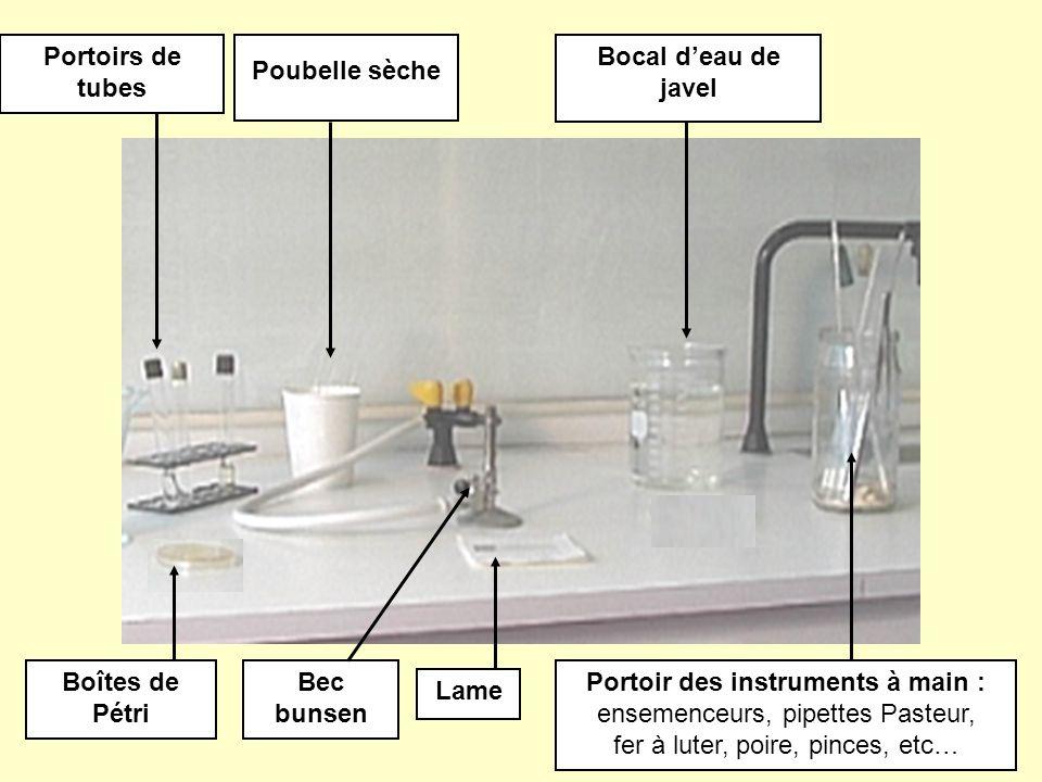 Portoirs de tubes Bocal d'eau de javel Boîtes de Pétri Bec bunsen Lame