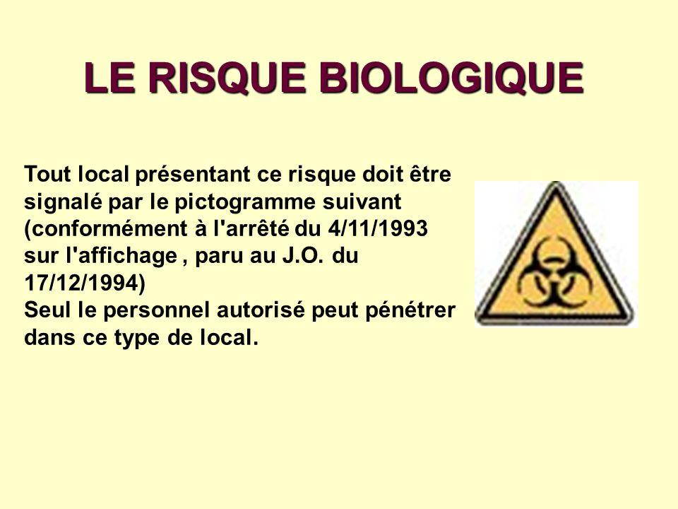 LE RISQUE BIOLOGIQUE Tout local présentant ce risque doit être signalé par le pictogramme suivant.