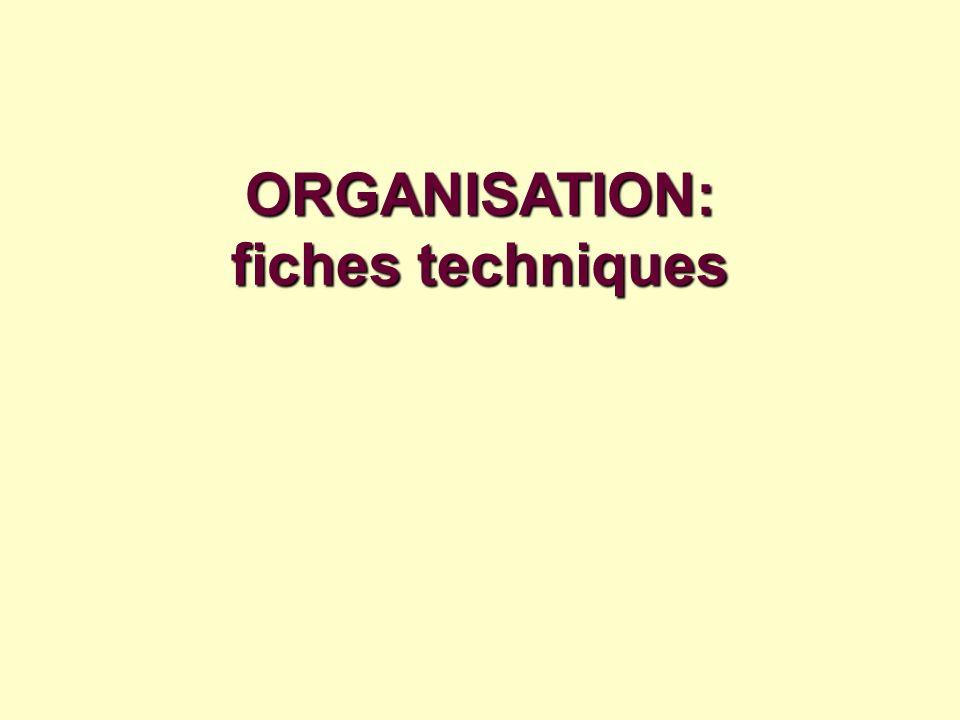 ORGANISATION: fiches techniques