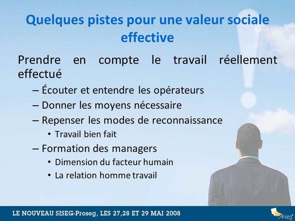 Quelques pistes pour une valeur sociale effective