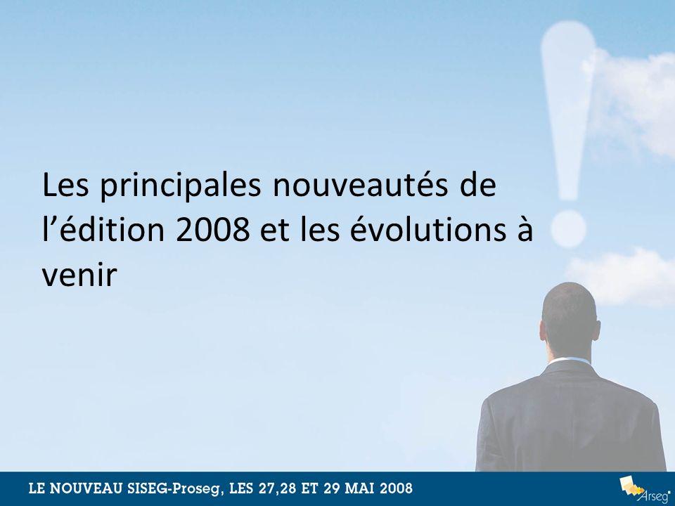 Les principales nouveautés de l'édition 2008 et les évolutions à venir
