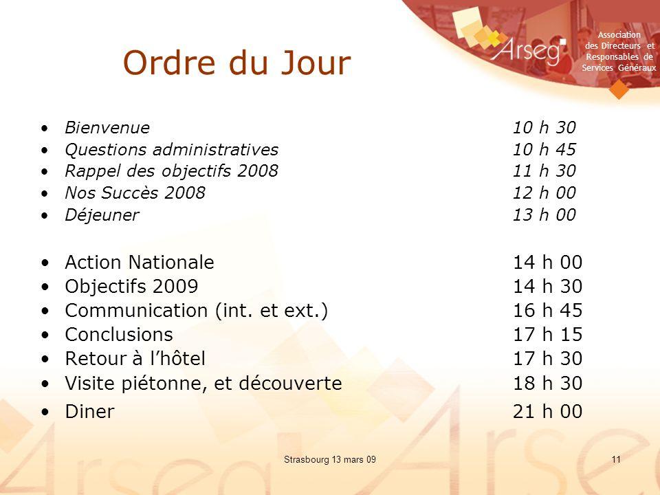 Ordre du Jour Action Nationale 14 h 00 Objectifs 2009 14 h 30