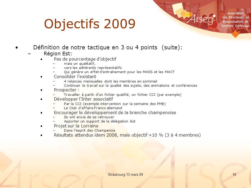 Objectifs 2009 Définition de notre tactique en 3 ou 4 points (suite):