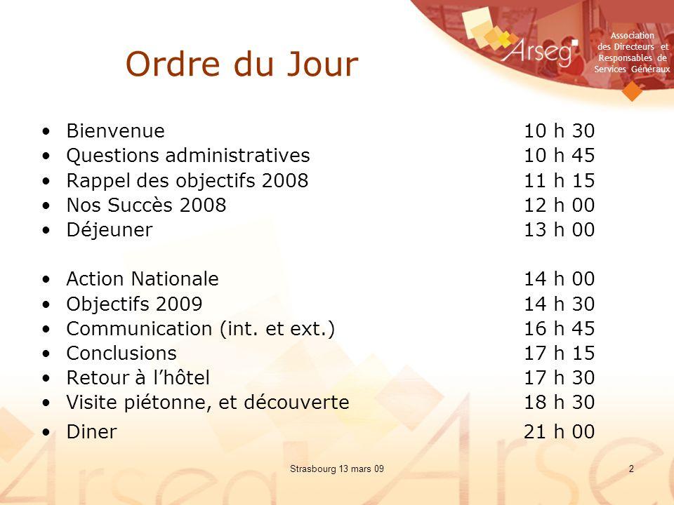 Ordre du Jour Bienvenue 10 h 30 Questions administratives 10 h 45