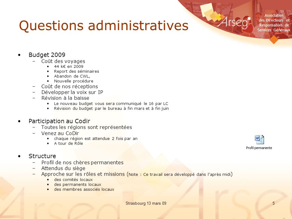 Questions administratives