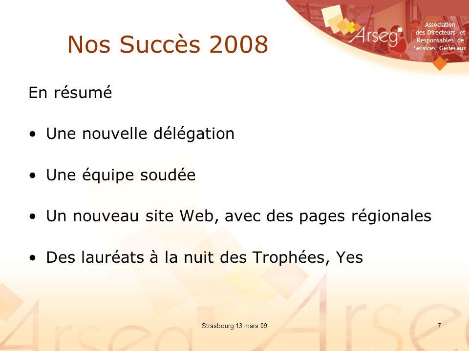 Nos Succès 2008 En résumé Une nouvelle délégation Une équipe soudée