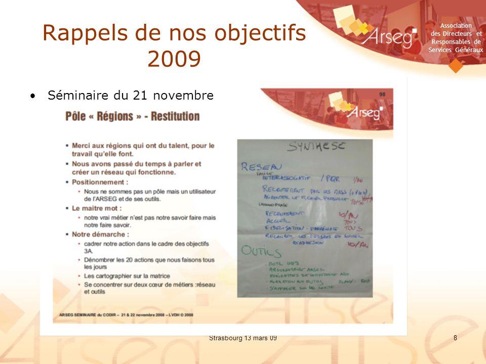 Rappels de nos objectifs 2009