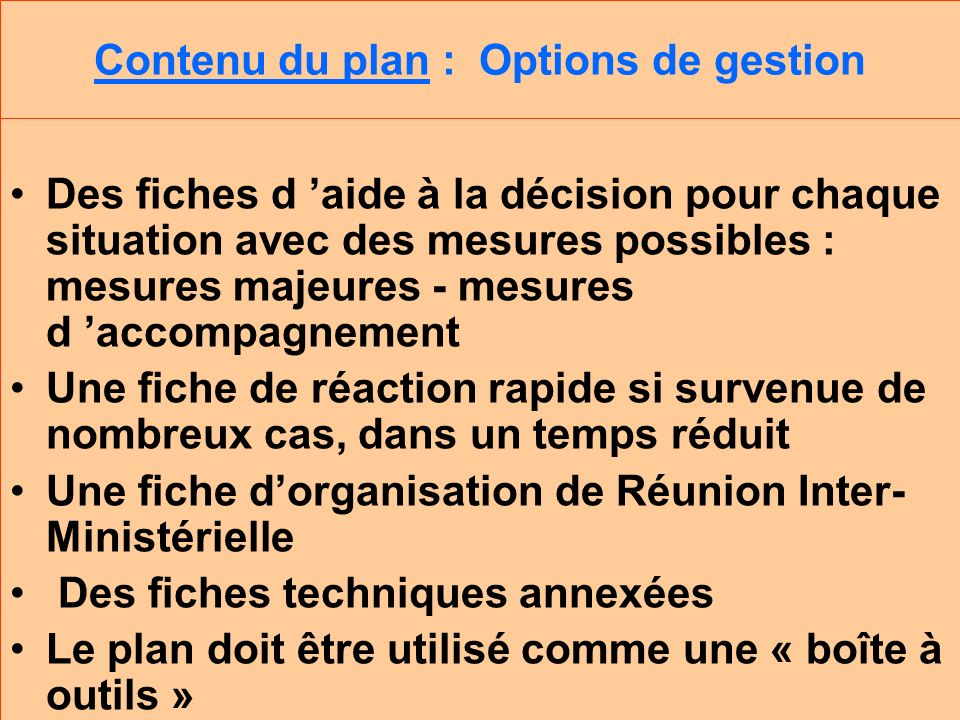 Contenu du plan : Options de gestion
