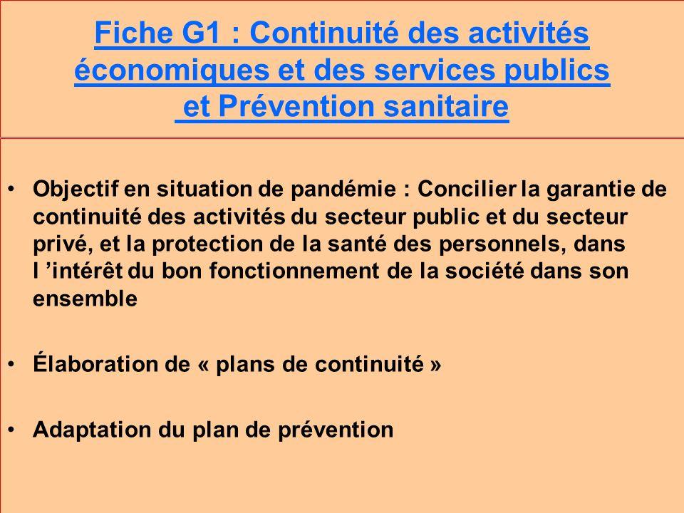 Fiche G1 : Continuité des activités économiques et des services publics et Prévention sanitaire