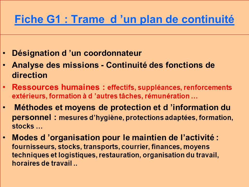 Fiche G1 : Trame d 'un plan de continuité