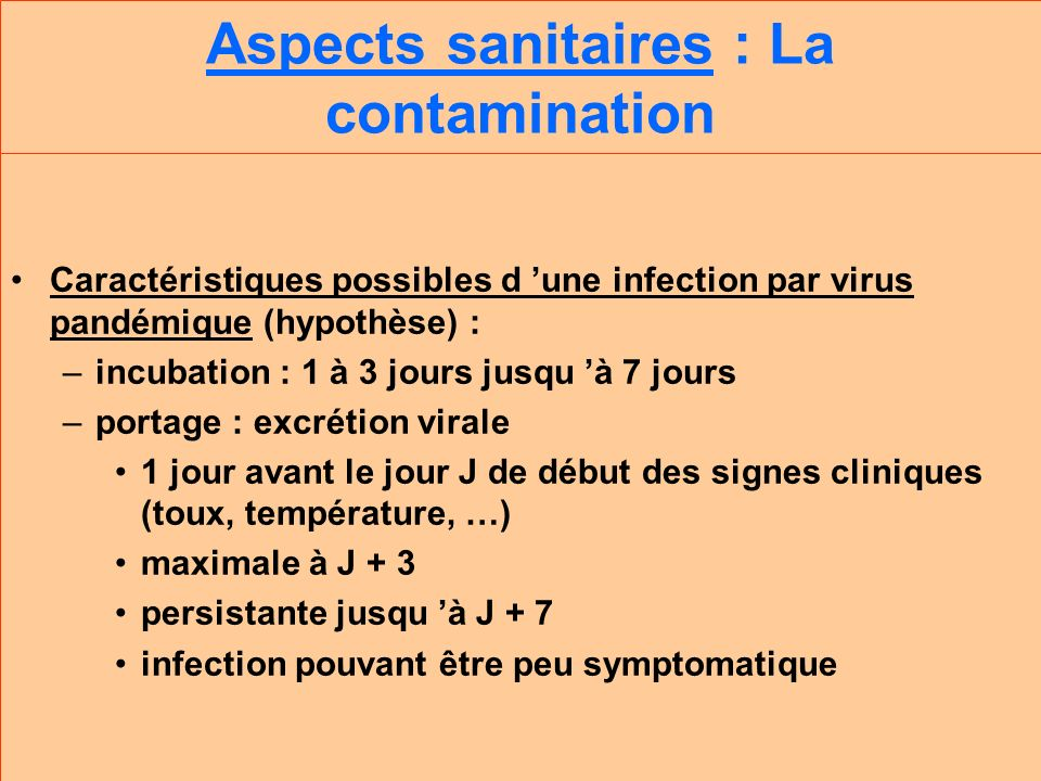 Aspects sanitaires : La contamination