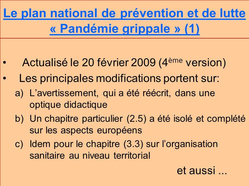 Le plan national de prévention et de lutte « Pandémie grippale » (1)