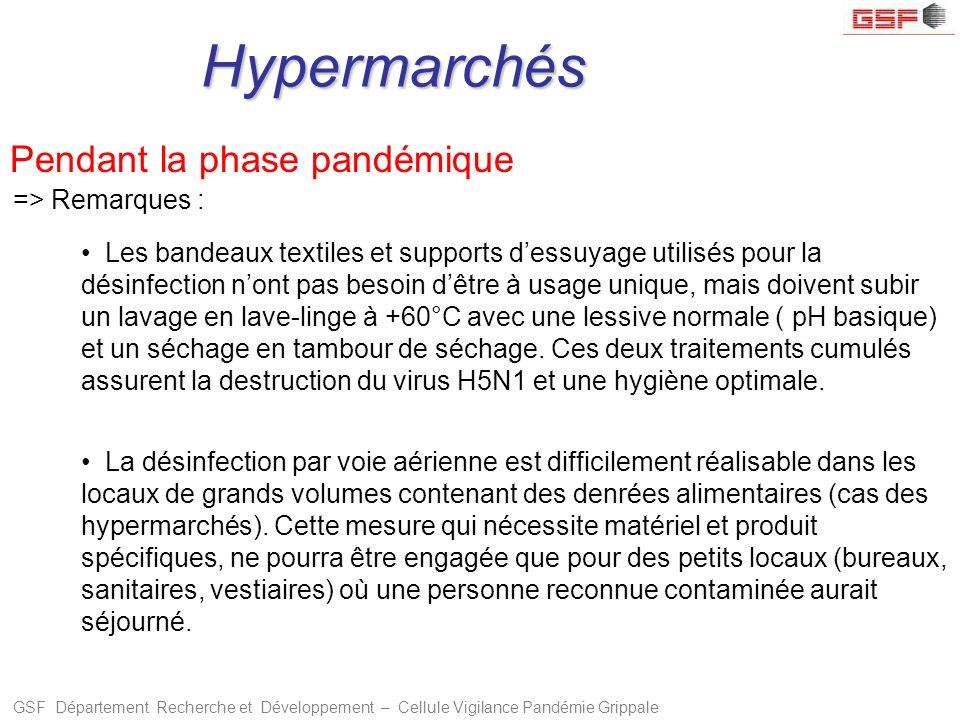 Hypermarchés Pendant la phase pandémique => Remarques :