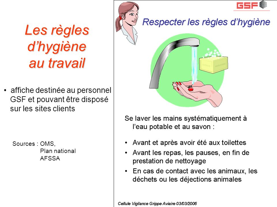 Les règles d'hygiène au travail