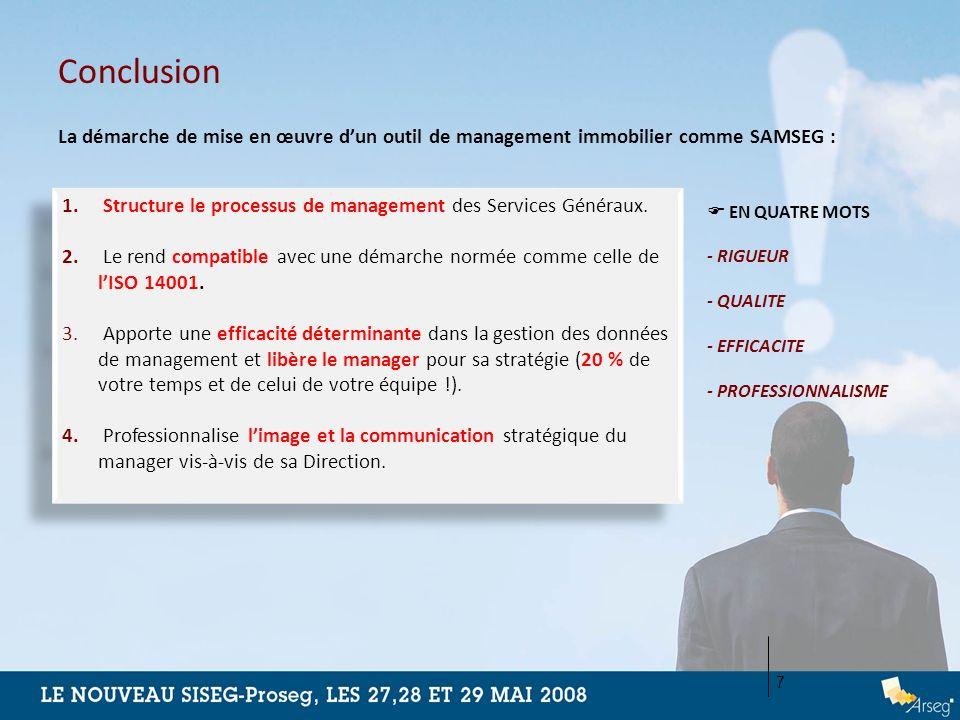 Conclusion. La démarche de mise en œuvre d'un outil de management immobilier comme SAMSEG :