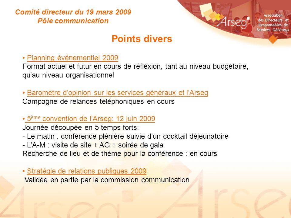 Comité directeur du 19 mars 2009