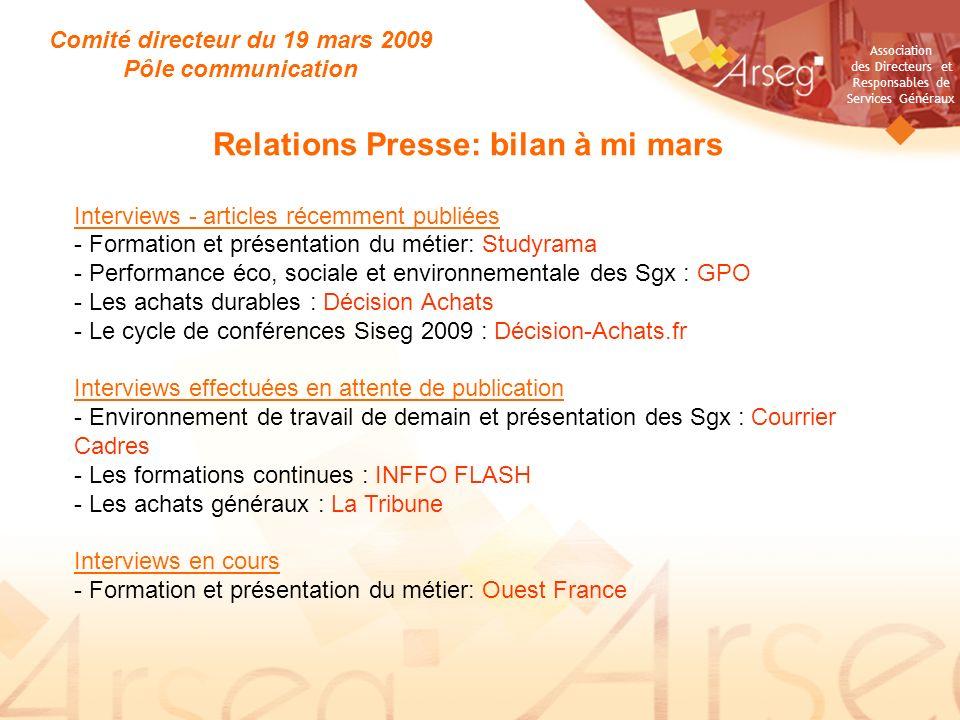 Comité directeur du 19 mars 2009 Relations Presse: bilan à mi mars
