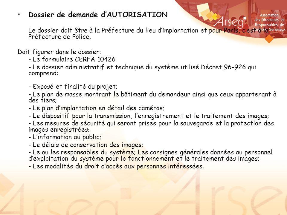 Dossier de demande d'AUTORISATION