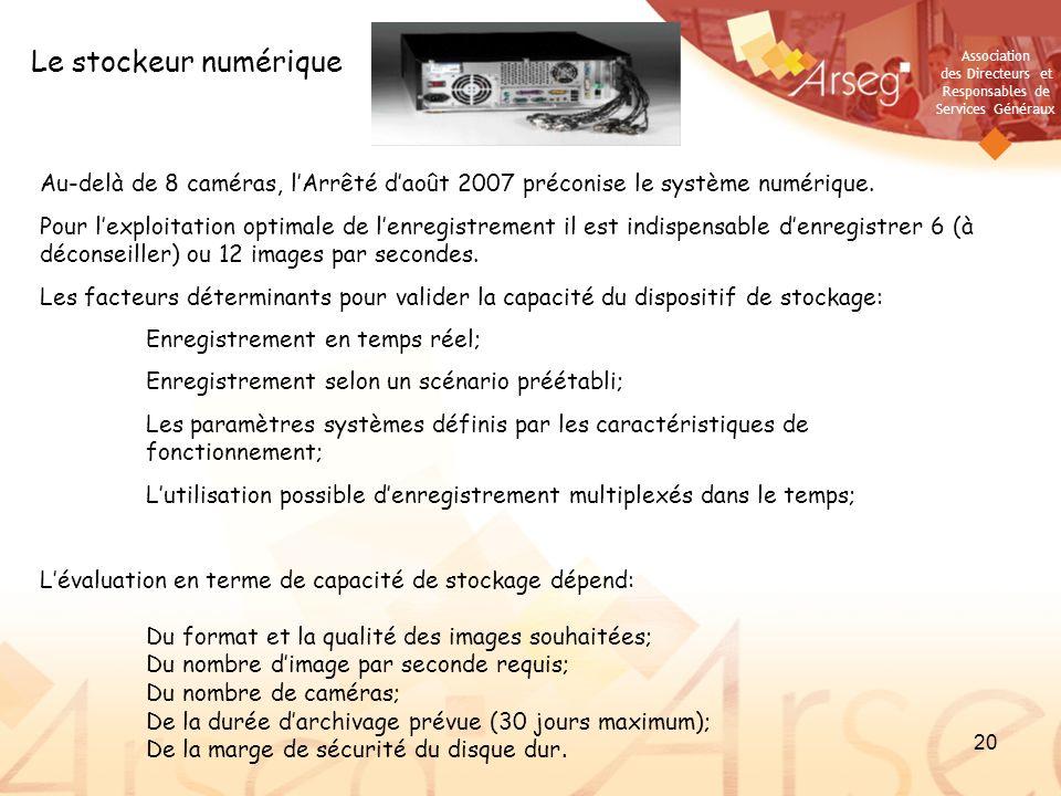 Le stockeur numérique Au-delà de 8 caméras, l'Arrêté d'août 2007 préconise le système numérique.
