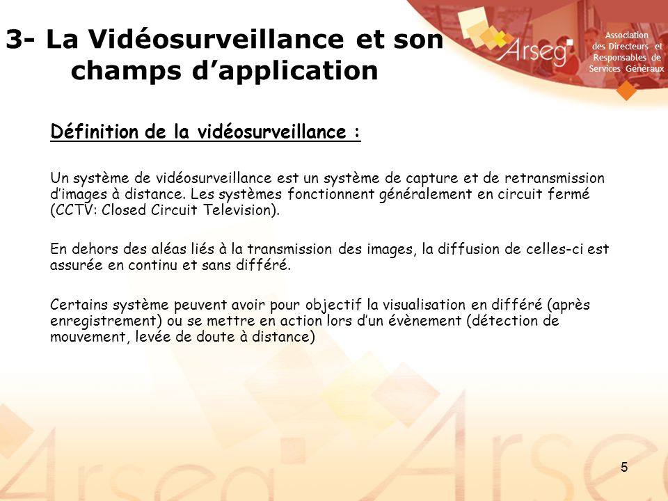3- La Vidéosurveillance et son champs d'application