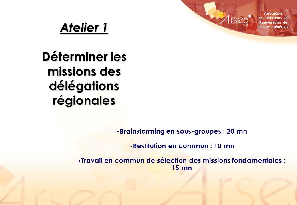 Atelier 1 Déterminer les missions des délégations régionales