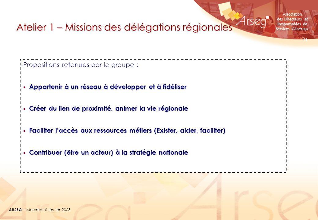 Atelier 1 – Missions des délégations régionales