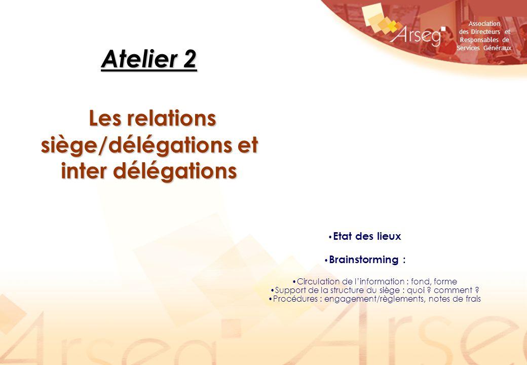 Atelier 2 Les relations siège/délégations et inter délégations