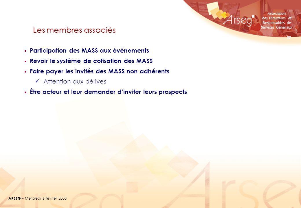 Les membres associés Participation des MASS aux événements