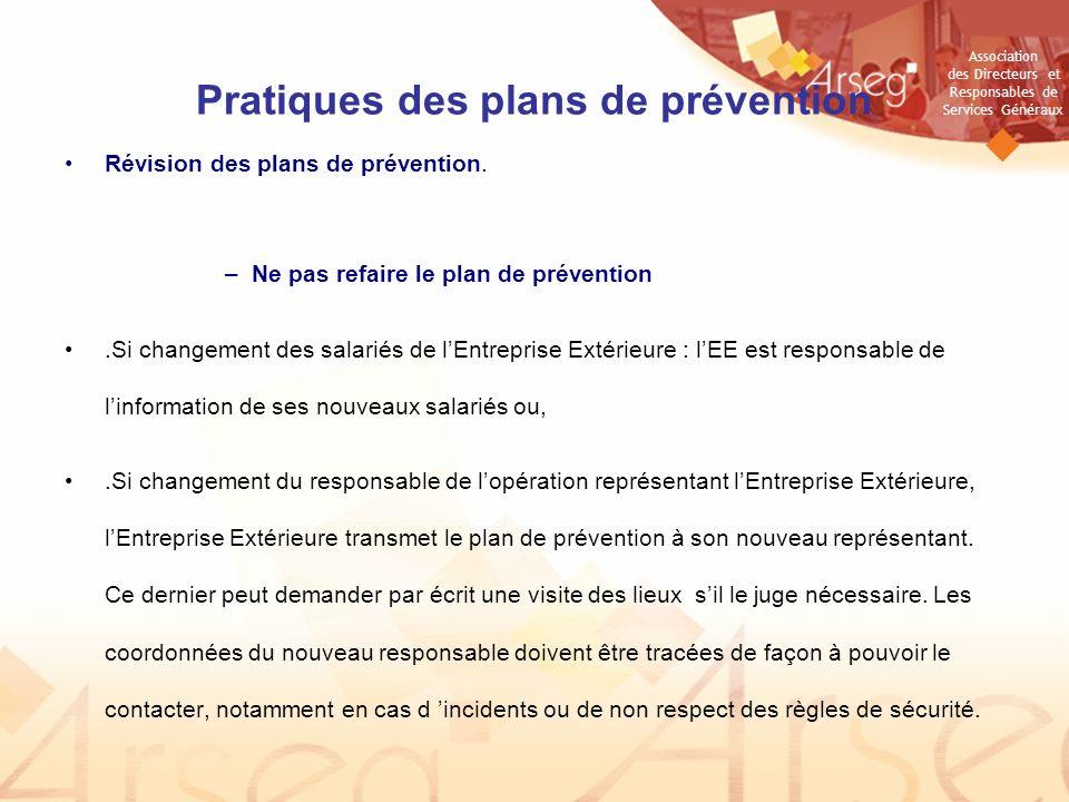 Pratiques des plans de prévention