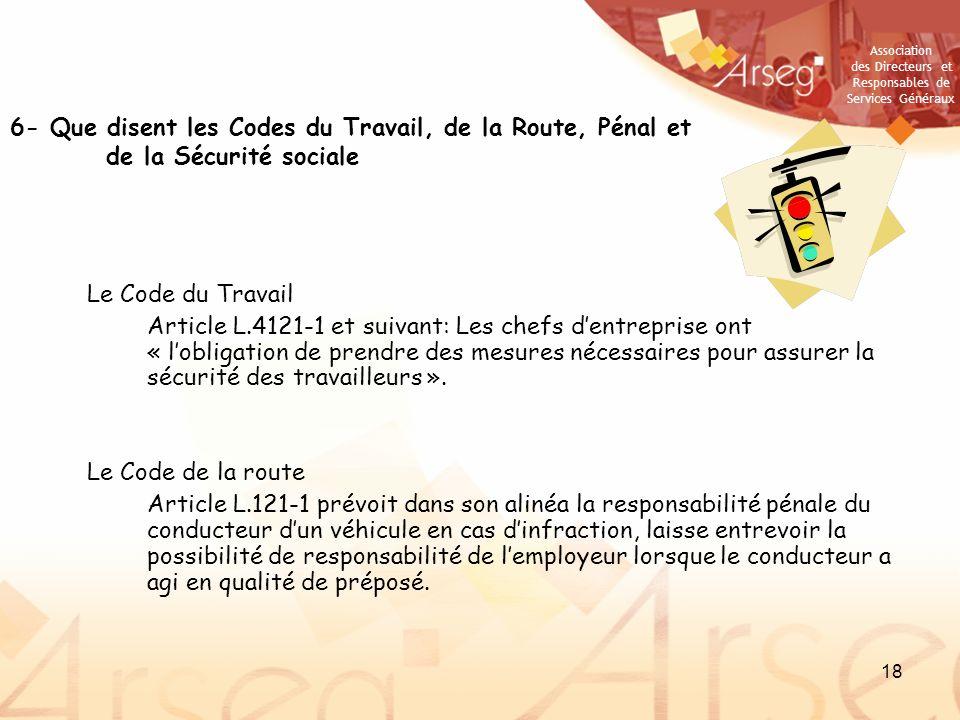 6- Que disent les Codes du Travail, de la Route, Pénal et