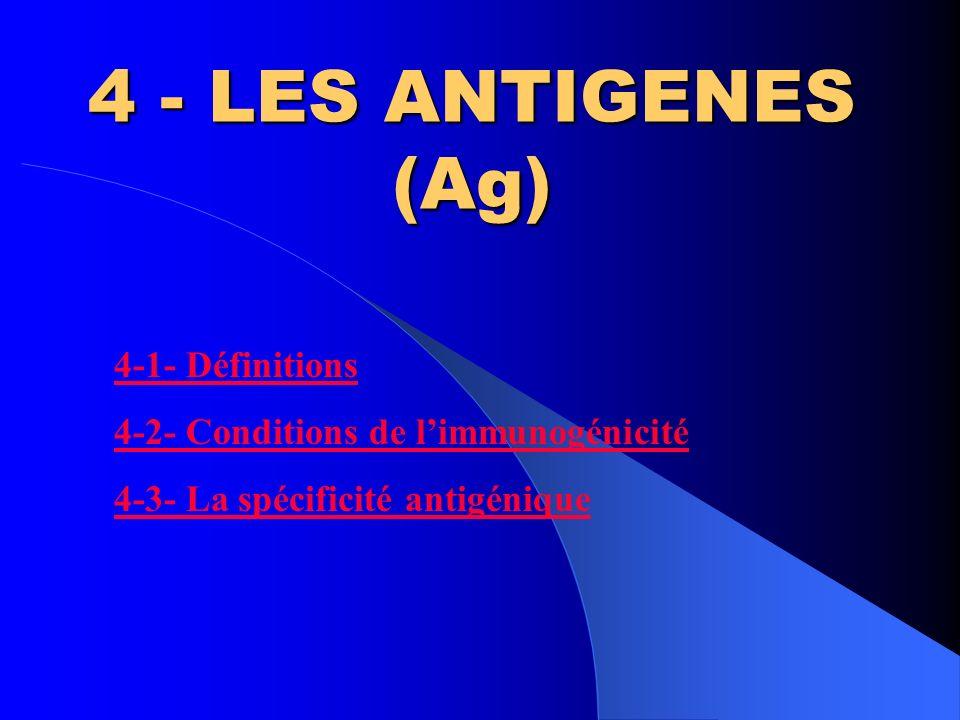 4 - LES ANTIGENES (Ag) 4-1- Définitions