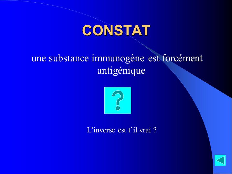 CONSTAT une substance immunogène est forcément antigénique