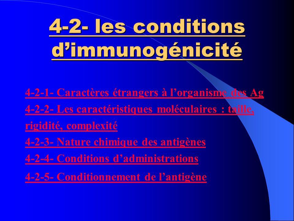 4-2- les conditions d'immunogénicité