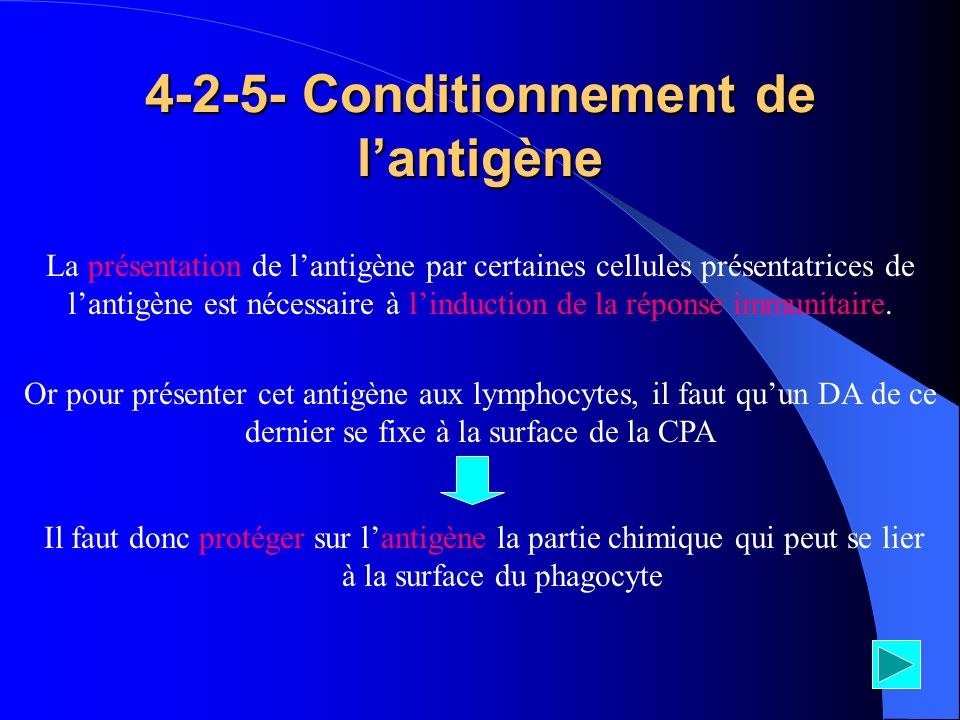 Conditionnement de l'antigène