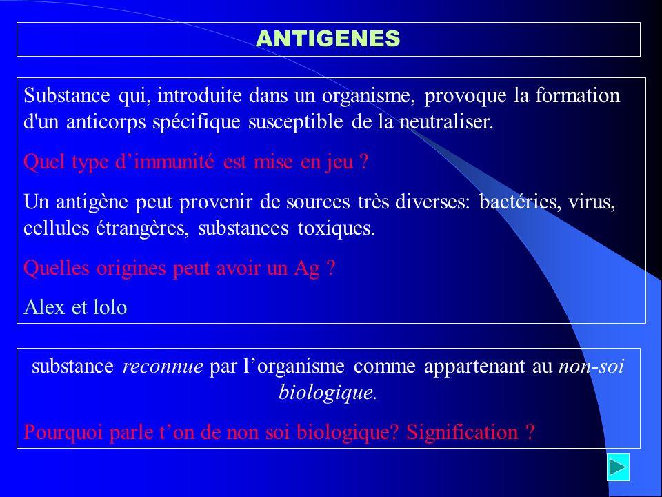 ANTIGENES Substance qui, introduite dans un organisme, provoque la formation d un anticorps spécifique susceptible de la neutraliser.