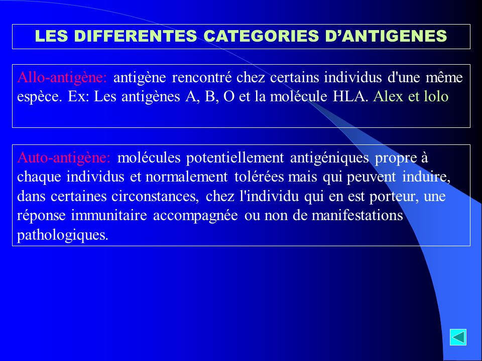 LES DIFFERENTES CATEGORIES D'ANTIGENES