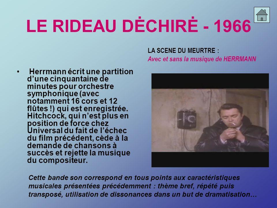 LE RIDEAU DĖCHIRĖ - 1966LA SCENE DU MEURTRE : Avec et sans la musique de HERRMANN.