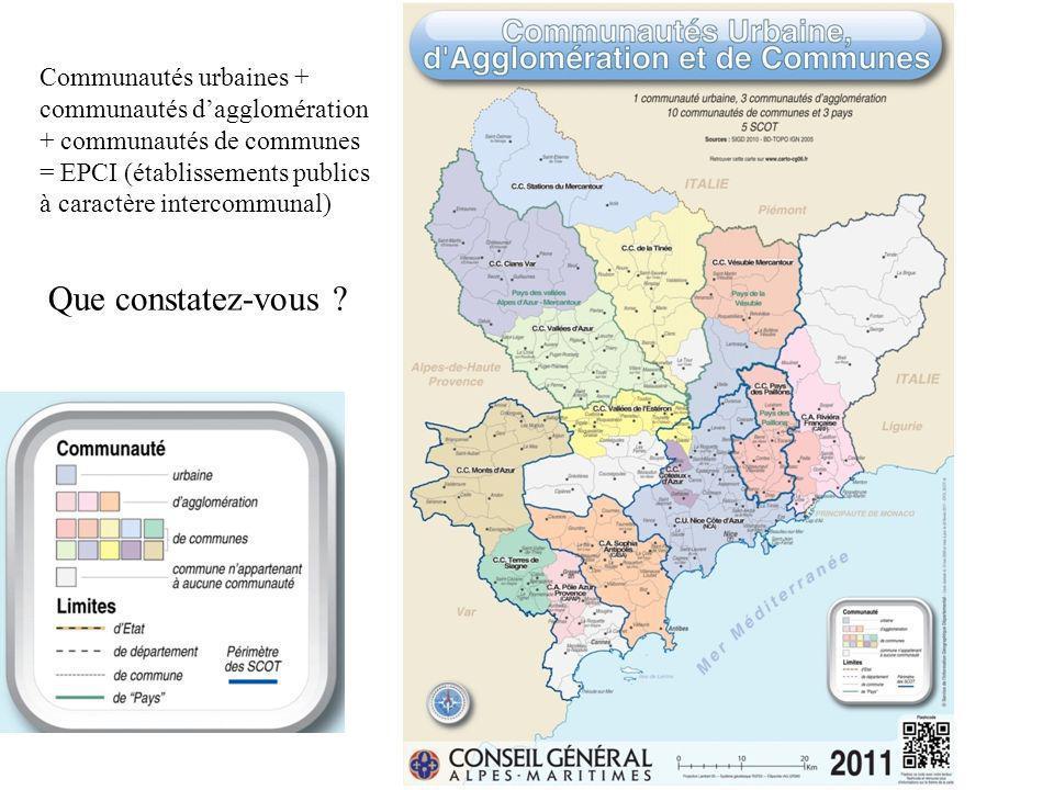 Communautés urbaines + communautés d'agglomération + communautés de communes = EPCI (établissements publics à caractère intercommunal)