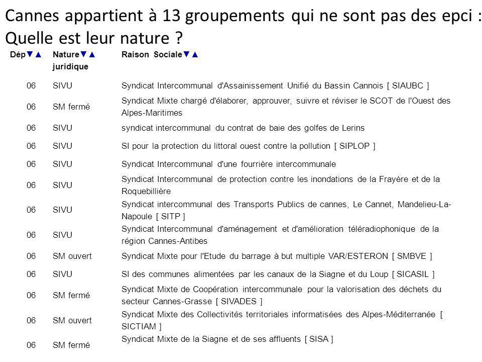 Cannes appartient à 13 groupements qui ne sont pas des epci :