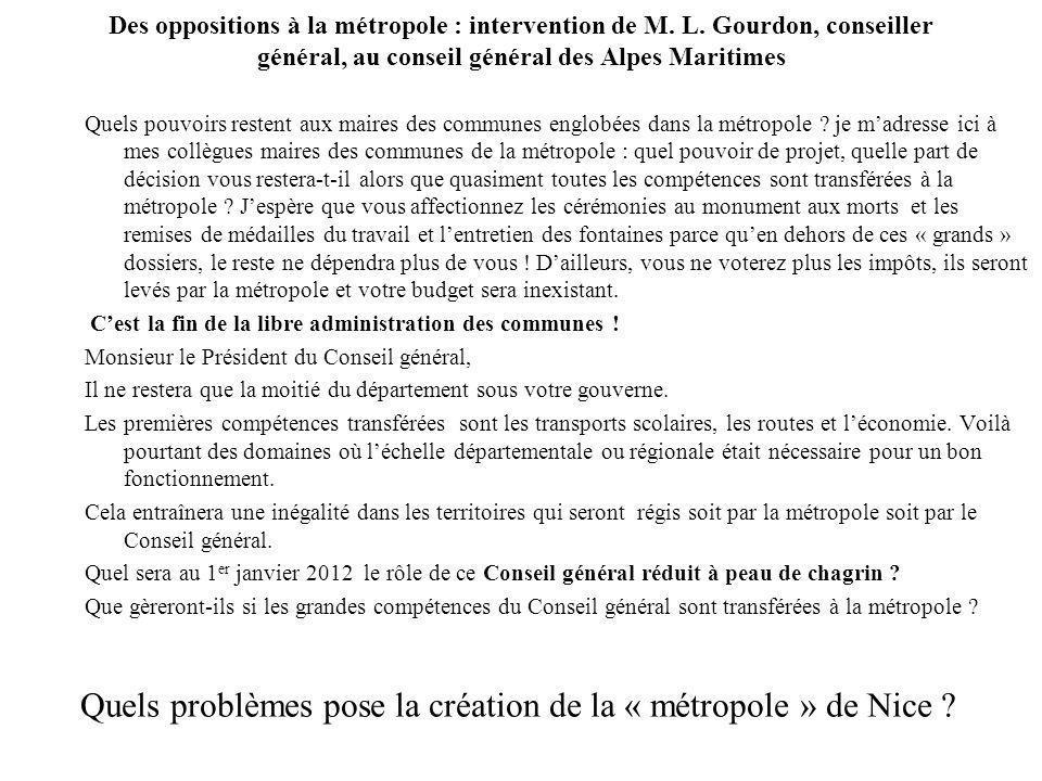 Quels problèmes pose la création de la « métropole » de Nice