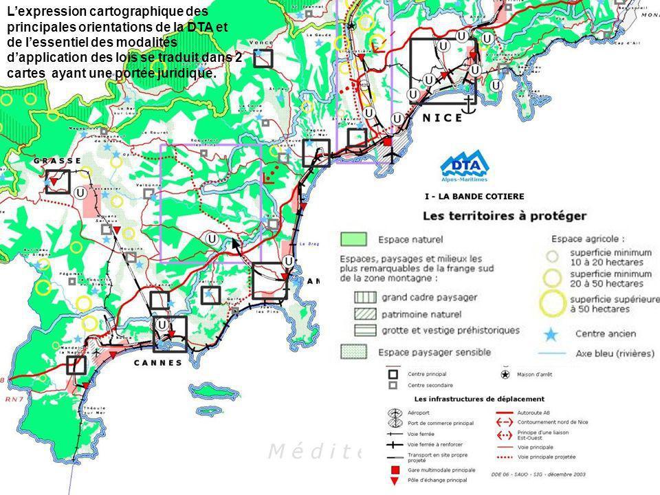 L'expression cartographique des principales orientations de la DTA et de l'essentiel des modalités d'application des lois se traduit dans 2 cartes ayant une portée juridique.
