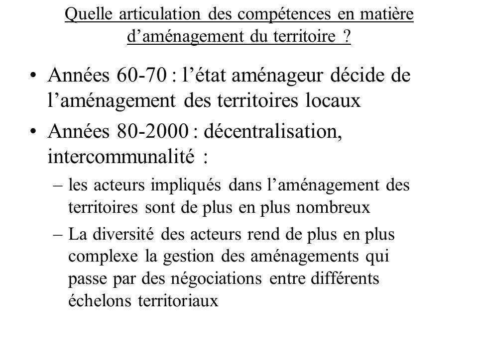 Années 80-2000 : décentralisation, intercommunalité :