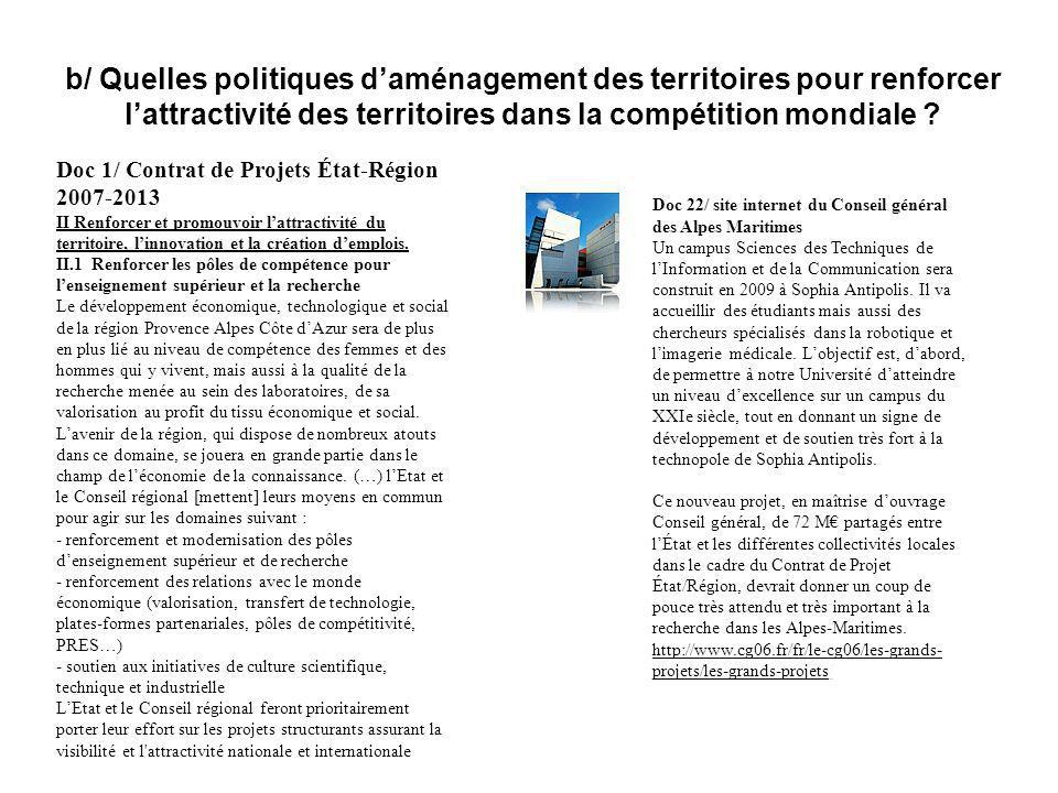 b/ Quelles politiques d'aménagement des territoires pour renforcer l'attractivité des territoires dans la compétition mondiale