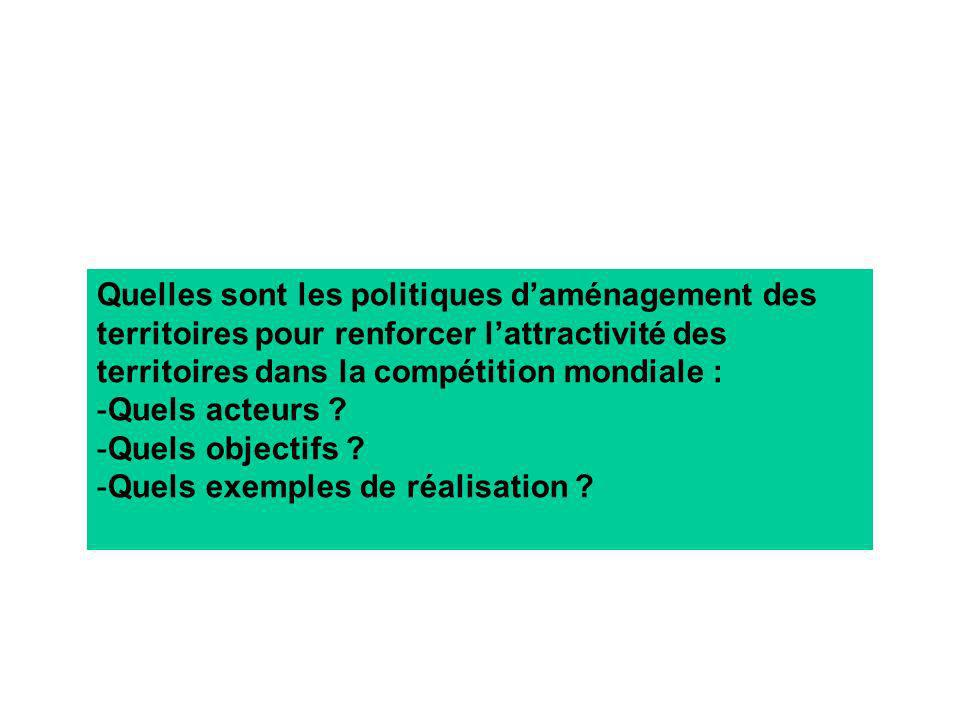 Quelles sont les politiques d'aménagement des territoires pour renforcer l'attractivité des territoires dans la compétition mondiale :
