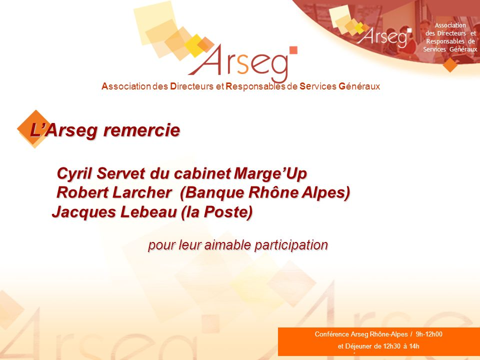 L'Arseg remercie Cyril Servet du cabinet Marge'Up