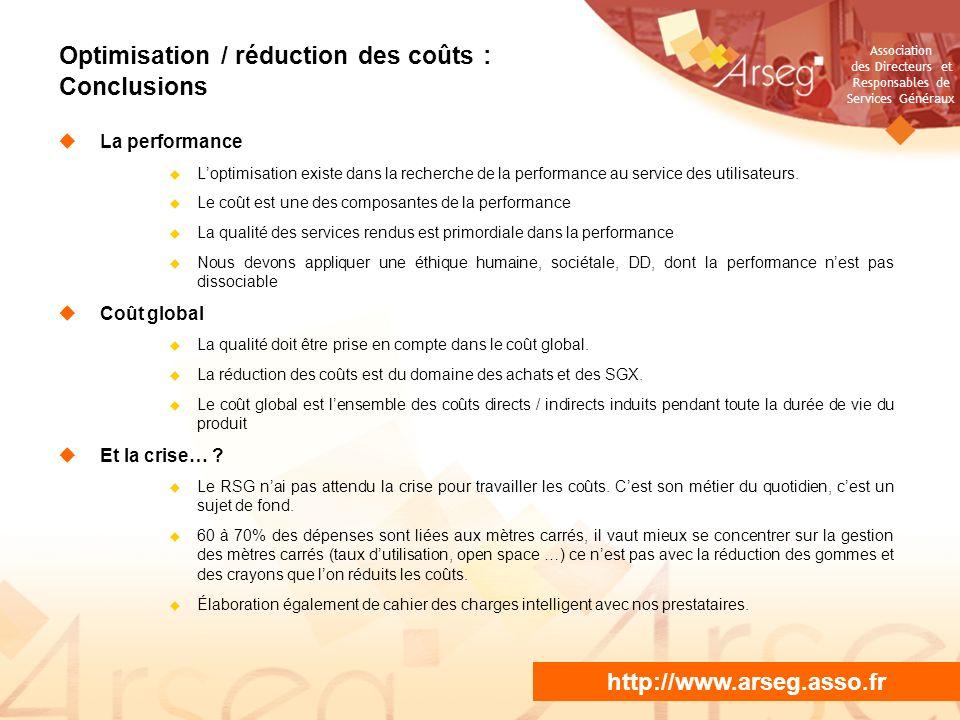 Optimisation / réduction des coûts : Conclusions