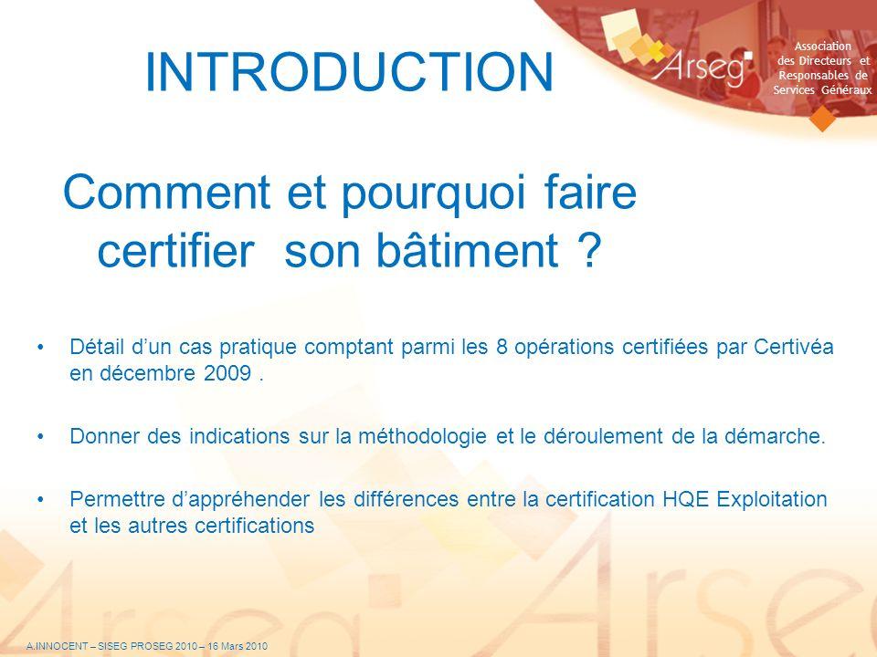 INTRODUCTION Comment et pourquoi faire certifier son bâtiment