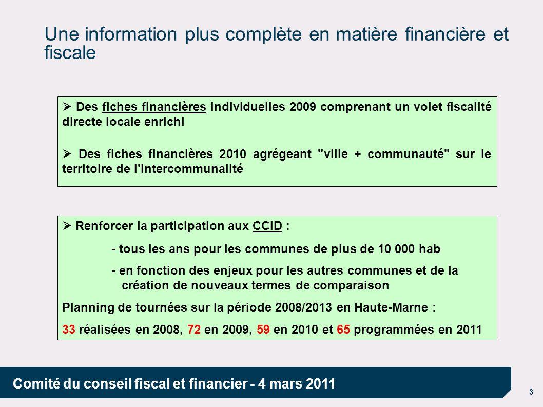 Une information plus complète en matière financière et fiscale