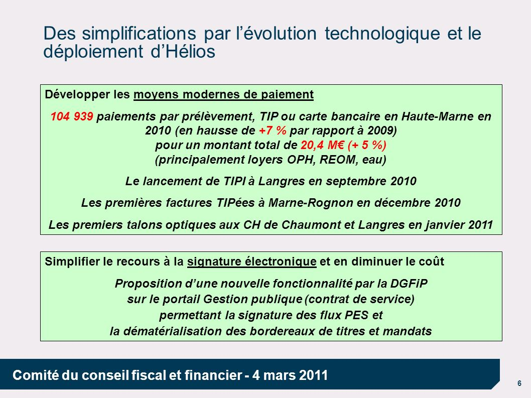 Des simplifications par l'évolution technologique et le déploiement d'Hélios