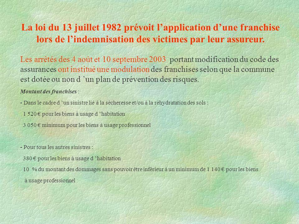 La loi du 13 juillet 1982 prévoit l'application d'une franchise lors de l'indemnisation des victimes par leur assureur.